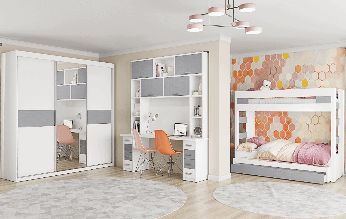 חדר ילדים שלם הכולל ארון, ספריה ומיטה, במידות וצבעים לבחירתכם – דגם נועם