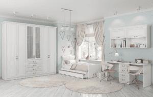 חדר ילדים שלם הכולל ארון, ספריה ומיטה, במידות וצבעים לבחירתכם – דגם אושר