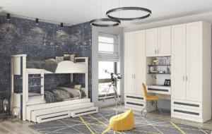 חדר ילדים שלם הכולל ארון, ספריה ומיטה, במידות וצבעים לבחירתכם – דגם רז