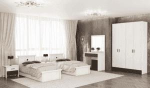 חדר שינה קומפלט הכולל מיטה יהודית + 2 שידות לילה עם 2 מגירות, ושולחן התארגנות הכולל מגירה + מראה ואפשרות לארון 4 דלתות– דגם  ראובן