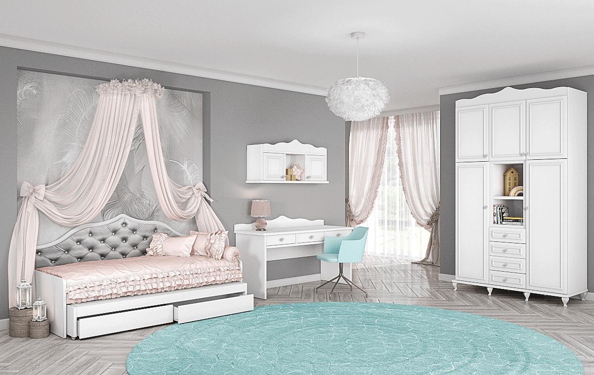 חדר ילדים שלם הכולל ארון, ספריה ומיטה, במידות וצבעים לבחירתכם – דגם רומי