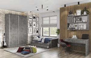חדר ילדים שלם הכולל ארון, ספריה ומיטה, במידות וצבעים לבחירתכם – דגם רותם