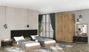 חדר שינה קומפלט הכולל מיטה יהודית, 2 שידות לילה עם 2 מגירות אחסון, וכוננית 6 מגירות + מראה ואפשרות לארון הזזה עם 9 חללי אחסון – דגם רחל הפרדה