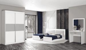 חדר שינה קומפלט הכולל מיטה יהודית + שידת לילה עם 2 מגירות, ושולחן התארגנות הכולל מגירה + מראה ואפשרות לארון הזזה עם 9 חללי אחסון– דגם שלום הפרדה
