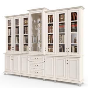 ספריית קודש עם 6 דלתות זכוכית + תא תצוגה מרכזי, 6 דלתות אחסון תחתונות ו- 3 מגירות – דגם תמר
