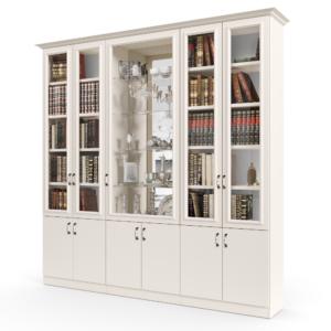 ספריית קודש עם 5 דלתות זכוכית + תא תצוגה מרכזי, ו- 6 דלתות אחסון תחתונות – דגם תפוז