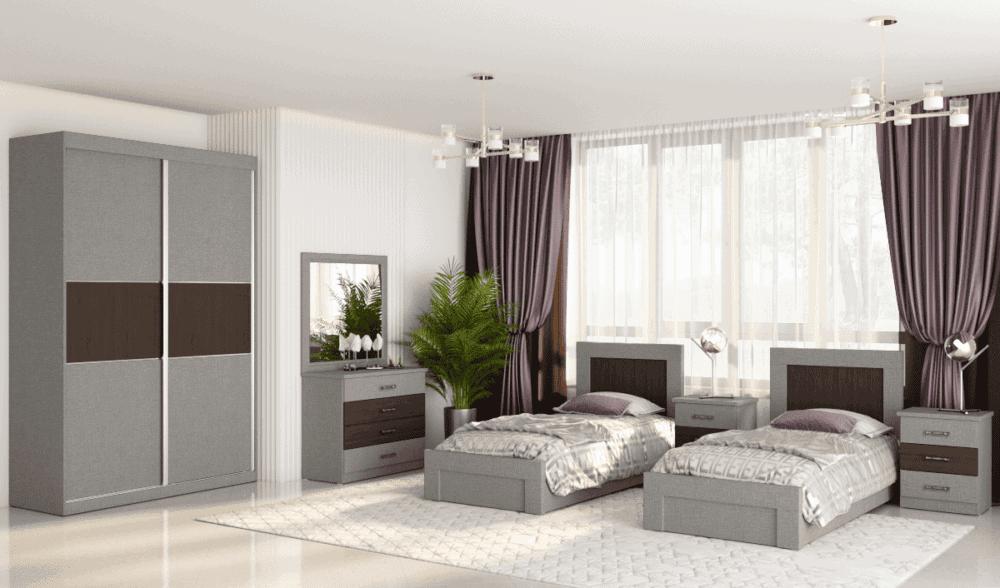 חדר שינה קומפלט הכולל מיטה יהודית עם 2 שידות לילה + 3 מגירות, וכוננית 4 מגירות + מראה ואפשרות לארון הזזה עם 9 חללי אחסון + תא תליית קולבים – דגם יהודה