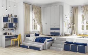 חדר ילדים שלם הכולל ארון, ספריה ומיטה, במידות וצבעים לבחירתכם – דגם יהונתן