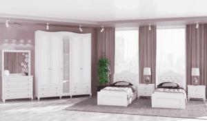 חדר שינה קומפלט הכולל מיטה יהודית עם 2 שידות לילה + 2 מגירות, וכוננית 4 מגירות + מראהואפשרות לארון עם 12 חללי אחסון + 4 מגירות ותא תליית קולבים– דגם יורם