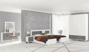 חדר שינה קומפלט הכולל מיטה יהודית עם 2 שידות לילה + 2 מגירות, ושולחן עם 4 מגירות + מראה ואפשרות לארון עם 6 חללי אחסון + 4 מגירות ותא לקולבים– דגם יצחק