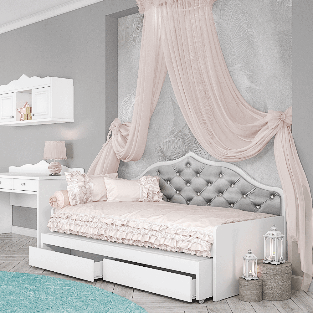 מיטת יחיד נפתחת עם משטח שינה נוסף ו- 2 מגירות אחסון – דגם רומי