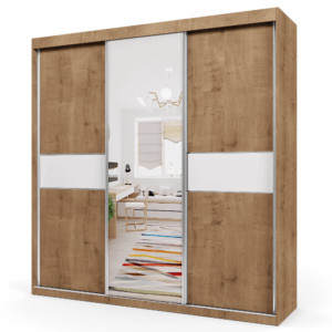 ארון 3 דלתות הכולל 14 חללי אחסון נפרדים, תא לתליית קולבים + מראה חיצונית מרכזית – דגם נועם מבוקע לבן