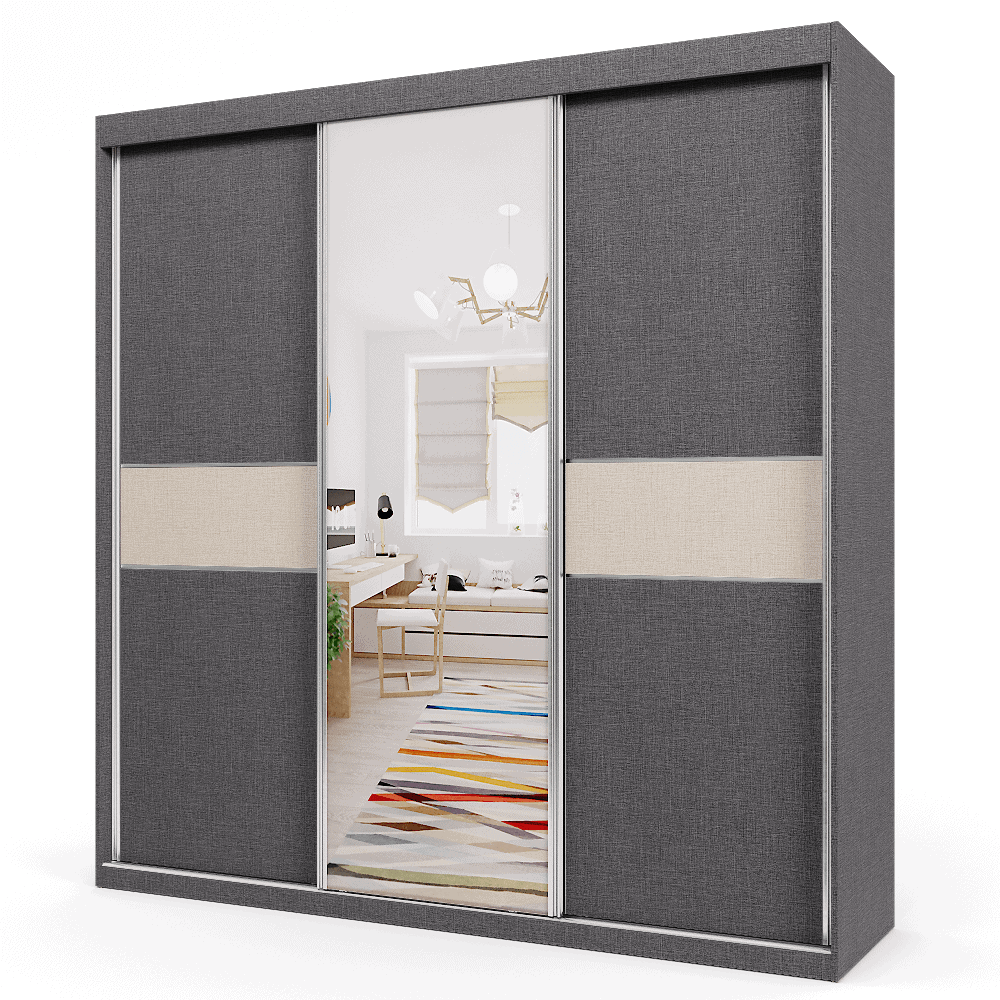 ארון 3 דלתות הכולל 14 חללי אחסון נפרדים, תא לתליית קולבים + מראה חיצונית מרכזית – דגם נועם יוטה כהה  יוטה בהיר