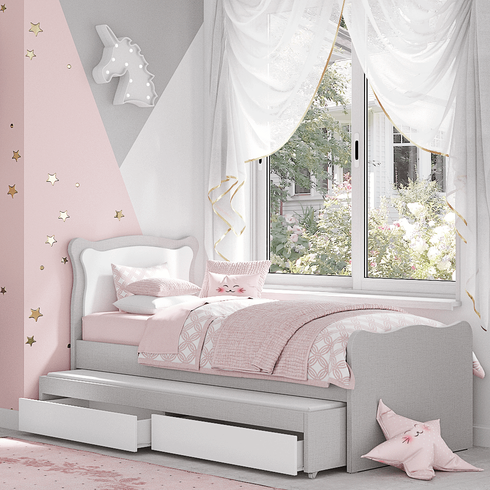 מיטת יחיד נפתחת + משטח שינה נוסף ו- 2 מגירות – דגם שניאל