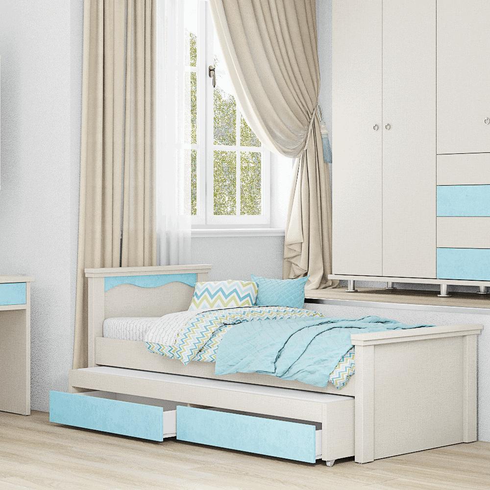 מיטת יחיד נפתחת + משטח שינה נוסף ו- 2 מגירות – דגם רותם עגול