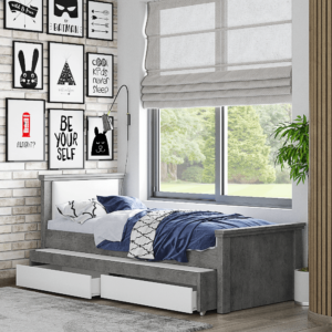 מיטת יחיד נפתחת + משטח שינה נוסף ו- 2 מגירות – דגם רותם כרית חלקה