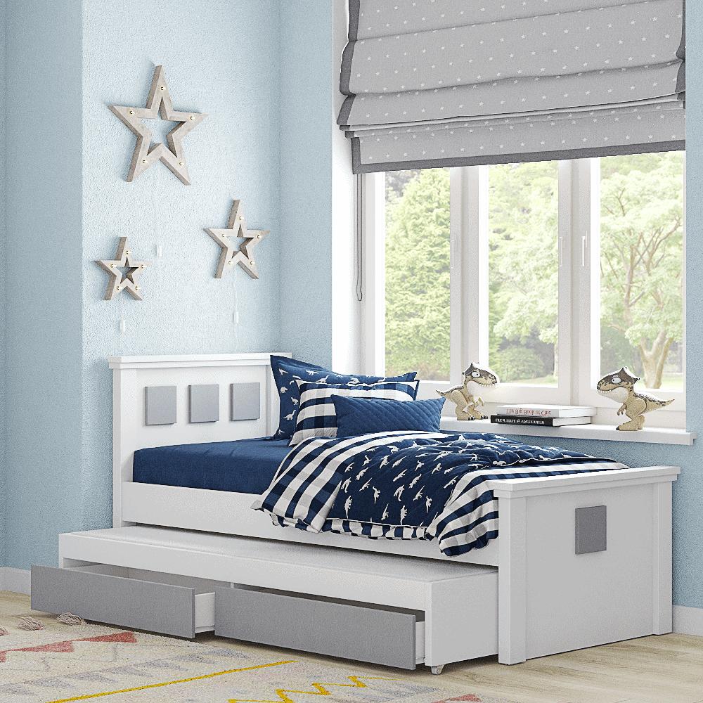 מיטת יחיד נפתחת + משטח שינה נוסף ו- 2 מגירות – דגם רותם קוביות