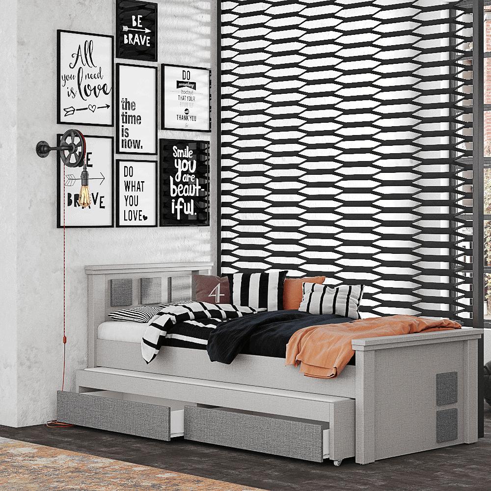 מיטת יחיד נפתחת + משטח שינה נוסף ו- 2 מגירות – דגם מוראל