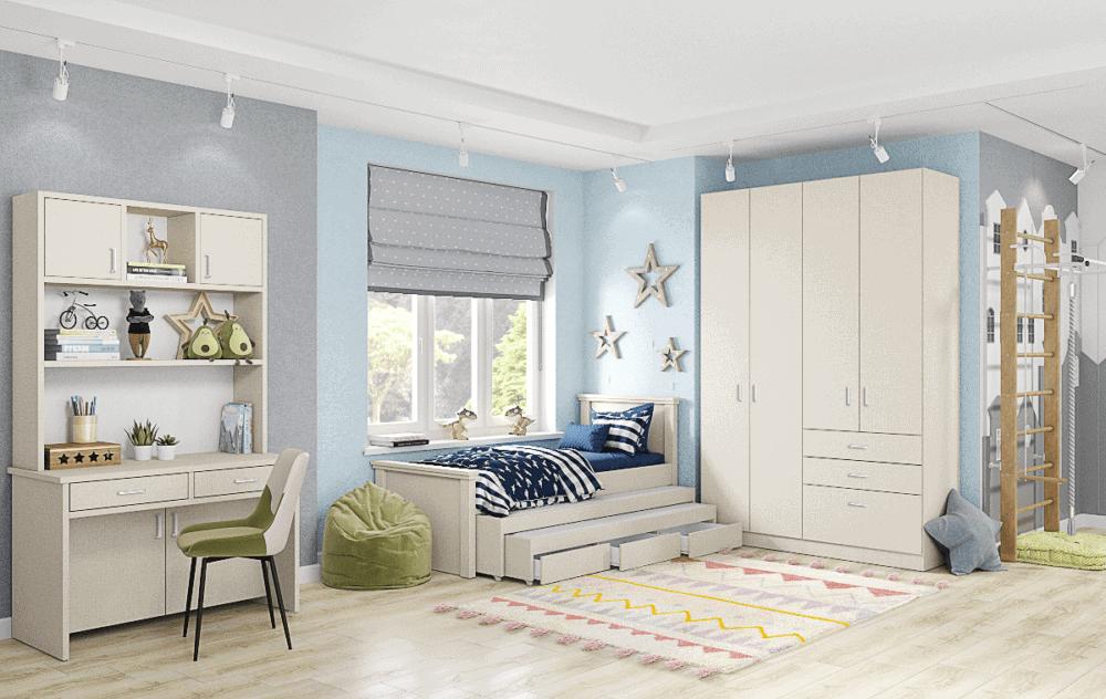 חדר ילדים שלם הכולל ארון 4 דלתות, ספריית עבודה, ומיטה נפתחת + 2 משטחי שינה ו- 3 מגירות - דגם אגם