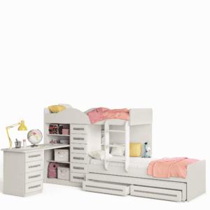 מיטת קומתיים נפתחת עם משטח שינה נוסף +  2 מגירות אחסון תחתונות, וספרייה מובנית עם 10 מגירות, 4 תאי אחסון ומשטח עבודה – דגם רכבת ספריה