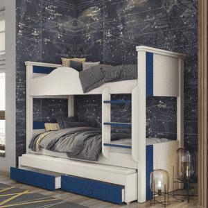 מיטת קומתיים הכוללת משטח שינה נוסף + 2 מגירות אחסון – דגם קומתיים 9 פסים