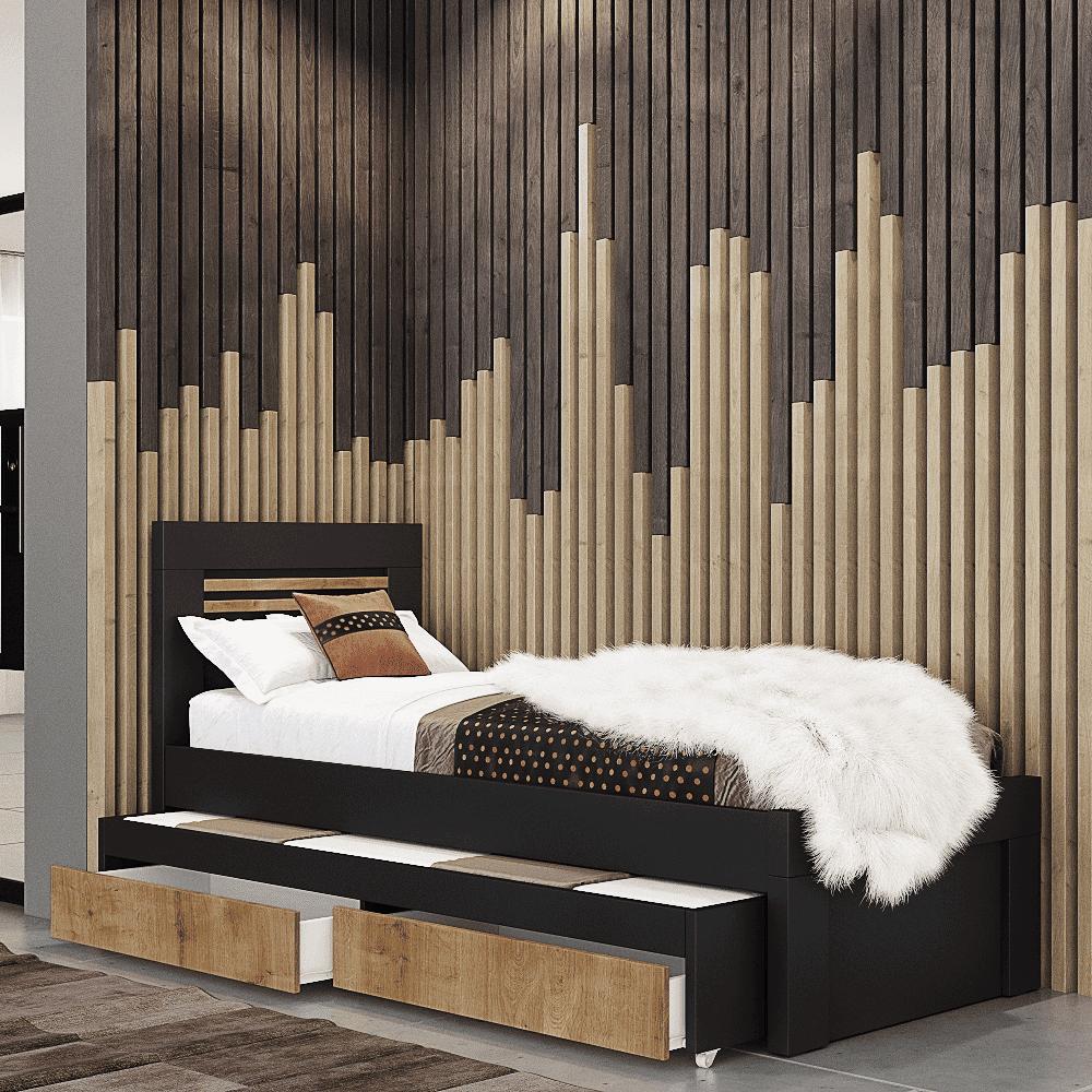 מיטת יחיד נפתחת + משטח שינה נוסף ו- 2 מגירות אחסון – דגם לביא