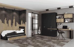 חדר ילדים שלם הכולל ארון 4 דלתות משולב עם ספרייה + כוורת לתלייה, ומיטה נפתחת + חלל אחסון – דגם לביא