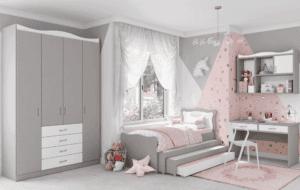 חדר ילדים שלם הכולל ארון 4 דלתות, מיטה נפתחת + 3 משטחי שינה, וספרייה + כוורת לתלייה  – דגם שניאל