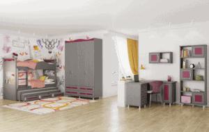 חדר ילדים שלם הכולל ארון 4 דלתות, מיטה קומתיים נפתחת + 2 משטחי שינה ו- 3 מגירות, וספרייה + כוורת לתלייה ועמודון תצוגה  – דגם שובל