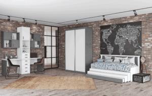 חדר ילדים שלם הכולל ארון הזזה, מיטה נפתחת + 3 משטחי שינה, וספרייה זוגית מפנקת + 2 כוורות לתלייה – דגם טל