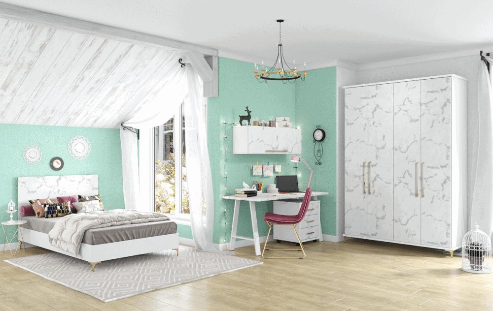 חדר ילדים שלם הכולל ארון 4 דלתות, מיטה זוגית, ספרייה + כוורת לתלייה, וכוננית 3 מגירות – דגם טיילור