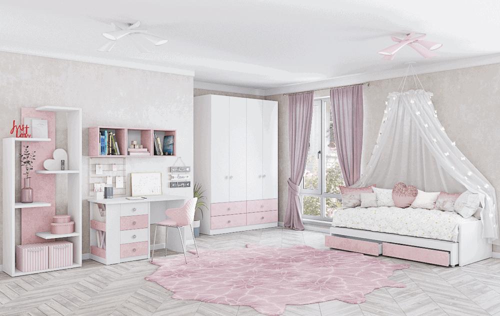 חדר ילדים שלם הכולל ארון 4 דלתות, מיטה נפתחת, וספרייה + כוורת ועמודון תצוגה  – דגם ירדן