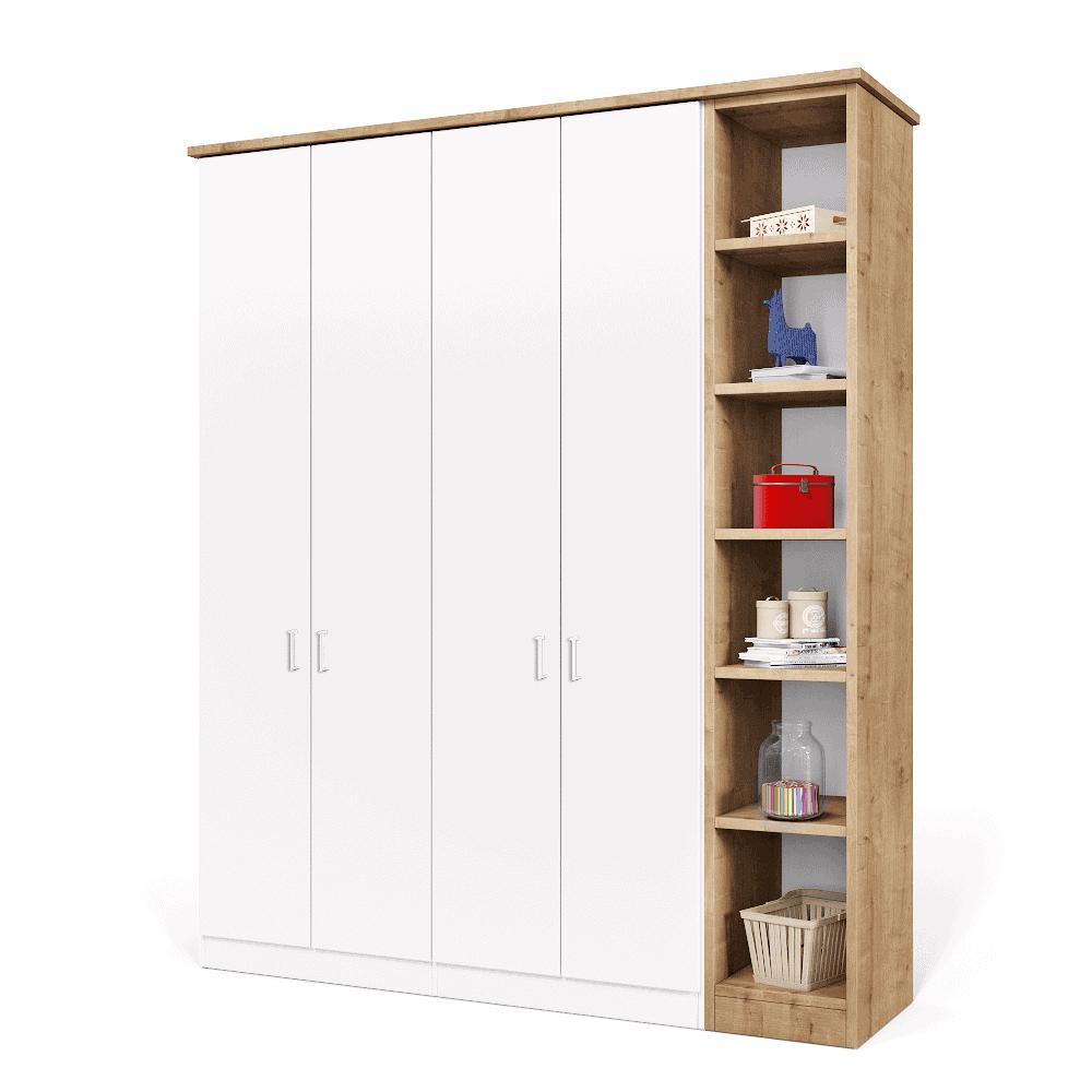 ארון 4 דלתות עם 8 חללי אחסון + תא תלייה לקולבים, וכוורת אנכית צמודה בעלת 6 קוביות אחסון ותצוגה – דגם בן