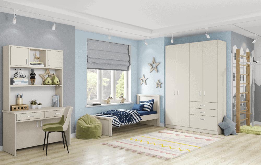 חדר ילדים שלם הכולל ארון 4 דלתות, מיטת יחיד, וספרייה הכוללת שולחן עבודה + 2 מגירות וכוורת אינטגרלית  – דגם אגם