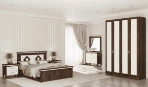 חדר שינה קומפלט הכולל ארון 4 דלתות עם 8 חללי אחסון, מיטה יהודית + שידת לילה עם 2 מגירות, וכוננית 3 מגירות + מראה – דגם אברהם