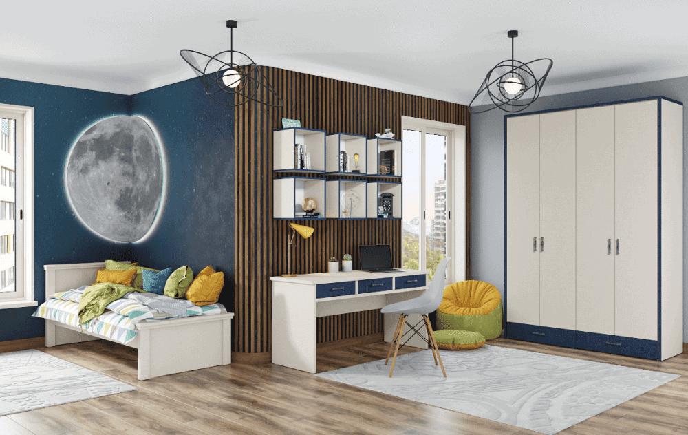 חדר ילדים שלם הכולל ארון 4 דלתות, מיטת יחיד, וספרייה הכוללת שולחן עבודה + כוורת 6 קוביות לתלייה  – דגם דוראל
