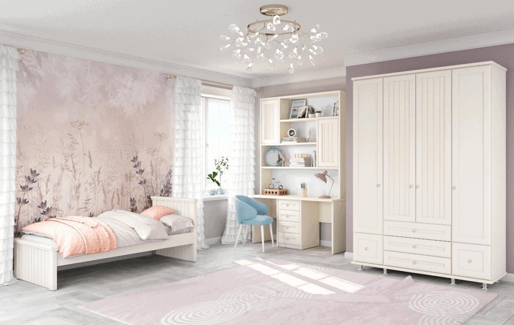 חדר ילדים שלם הכולל ארון 4 דלתות, מיטת יחיד, וספרייה הכוללת שולחן עבודה + כוורת אינטגרלית  – דגם דרור