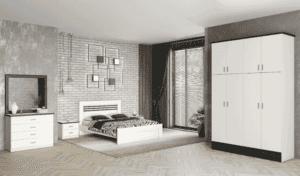 חדר שינה קומפלט הכולל ארון 4 דלתות עם 8 חללי אחסון, מיטה יהודית עם 2 שידות לילה + 2 מגירות, וכוננית 4 מגירות + מראה – דגם גד