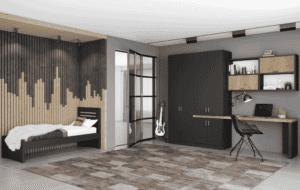 חדר ילדים שלם הכולל ארון 4 דלתות, מיטת יחיד, וספרייה הכוללת שולחן עבודה + כוורת לתלייה  – דגם לביא