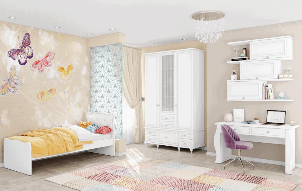 חדר ילדים שלם הכולל ארון מפואר, מיטת יחיד, וספרייה הכוללת שולחן עבודה + כוורת 3 תאים לתלייה  – דגם לני