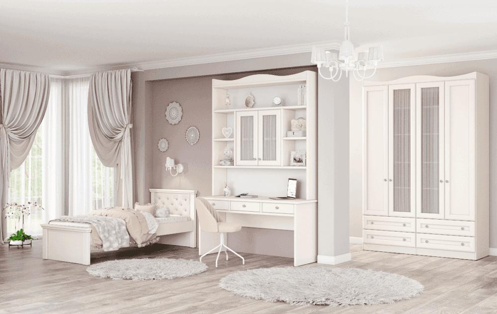 חדר ילדים שלם הכולל ארון 4 דלתות, מיטת יחיד, וספרייה עם שולחן עבודה וכוורת מובנית – דגם לין