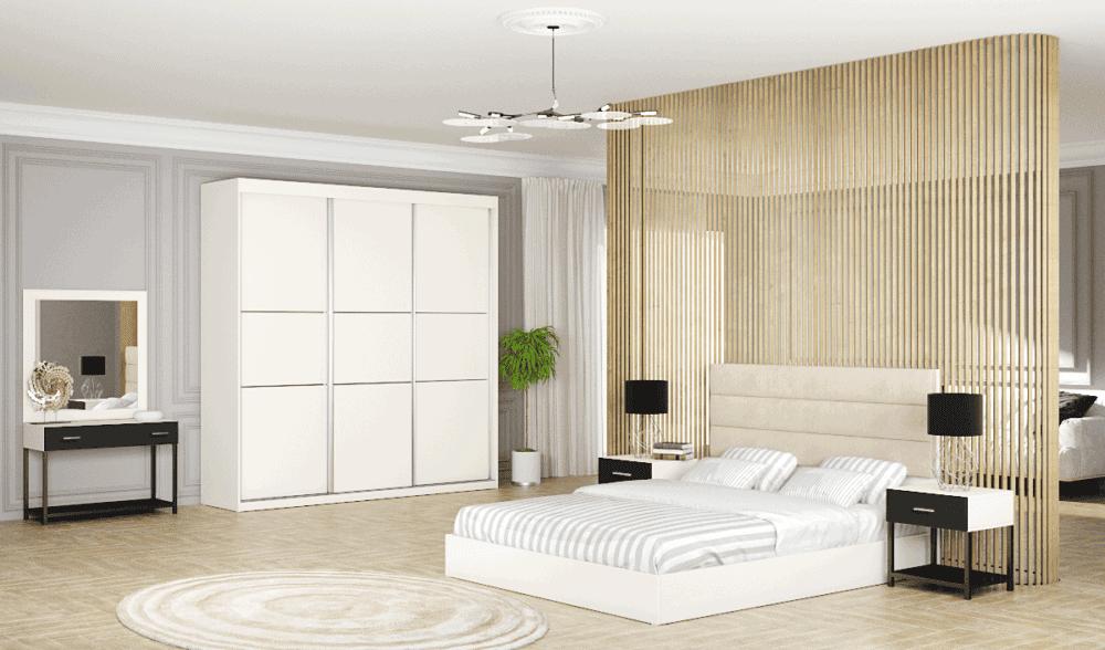 חדר שינה קומפלט הכולל ארון הזזה עם 14 חללי אחסון, מיטה יהודית + 2 שידות לילה עם מגירת אחסון, ושולחן התארגנות הכולל מגירת אחסון + מראה – דגם מיכאל