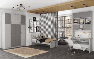 חדר ילדים הכולל ארון 4 דלתות, מיטת יחיד, וספרייה עם שולחן עבודה וכוורת אינטגרלית – דגם מוראל