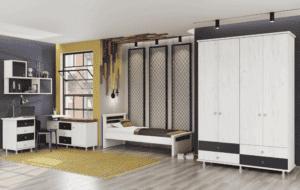 חדר ילדים שלם הכולל ארון 4 דלתות, מיטת יחיד, וספרייה הכוללת שולחן עבודה + 4 מגירות, כוננית צמודה, וכוורת לתלייה – דגם ניסן