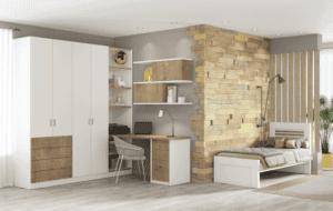 חדר ילדים שלם הכולל ארון 4 דלתות, מיטת יחיד, וספרייה הכוללת שולחן עבודה, כוורת לתלייה, ועמודון אחסון ותצוגה  – דגם ניתאי