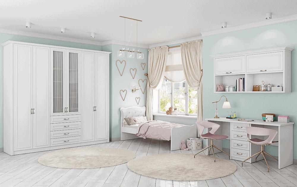 חדר ילדים הכולל ארון 6 דלתות, מיטת יחיד, וספרייה זוגית עם שולחן עבודה וכוורת לתלייה – דגם אושר