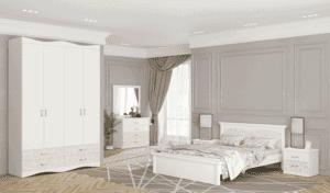 חדר שינה קומפלט הכולל ארון 4 דלתות, מיטה יהודית + 2 שידות לילה עם 2 מגירות, וכוננית 4 מגירות + מראה – דגם אסנת