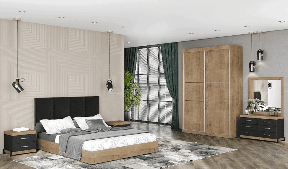 חדר שינה קומפלט הכולל ארון הזזה עם 9 חללי אחסון, מיטה יהודית + 2 שידות לילה עם 2 מגירות אחסון, וכוננית 6 מגירות + מראה – דגם רחל