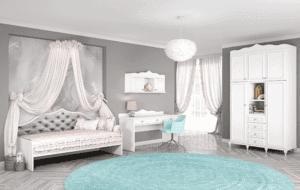 חדר ילדים שלם הכולל ארון גדול, מיטת יחיד, וספרייה הכוללת שולחן עבודה + כוורת לתלייה  – דגם רומי