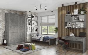 חדר ילדים שלם הכולל ארון הזזה מפואר, מיטת יחיד, וספרייה הכוללת שולחן עבודה + כוורת לתלייה  – דגם רותם